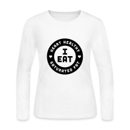 Long Sleeve Shirts ~ Women's Long Sleeve Jersey T-Shirt ~ I Eat Heart Healthy Saturated Fat (Black)