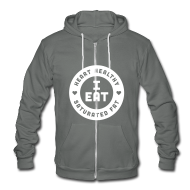Zip Hoodies & Jackets ~ Unisex Fleece Zip Hoodie by American Apparel ~ I Eat Heart Healthy Saturated Fat (White)