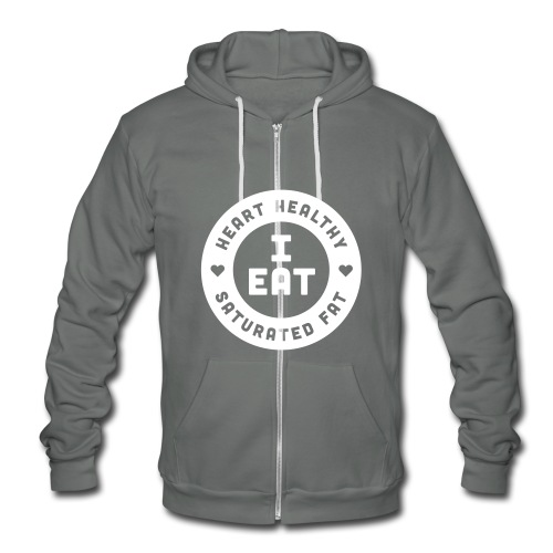 I Eat Heart Healthy Saturated Fat (White) - Unisex Fleece Zip Hoodie