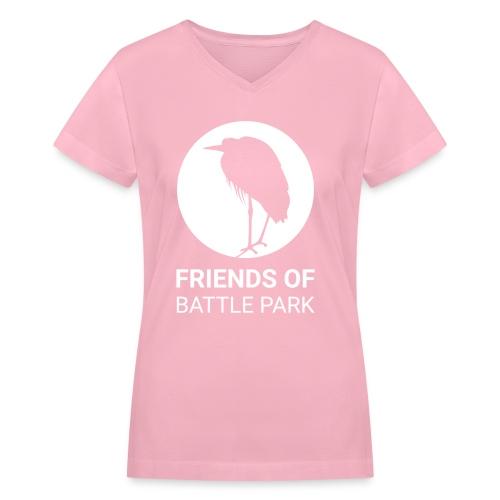 Friends of Battle Park - Large White Logo (Women) - Women's V-Neck T-Shirt