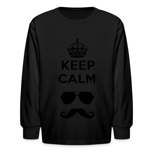 n_Keep Calm - Glasses and Mustache Long sleeve - Kids' Long Sleeve T-Shirt