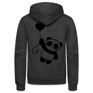 Panda Zip Up Hoodie (Back Design) - Unisex Fleece Zip Hoodie by American Apparel