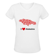 T-Shirts ~ Women's V-Neck T-Shirt ~ I Love Jamaica V-Neck