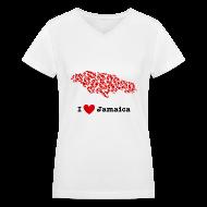 Women's T-Shirts ~ Women's V-Neck T-Shirt ~ I Love Jamaica V-Neck