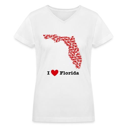I Love Florida V-Neck - Women's V-Neck T-Shirt