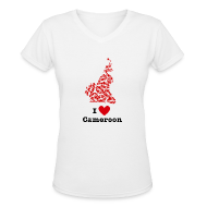 T-Shirts ~ Women's V-Neck T-Shirt ~ I Love Cameroon V-Neck