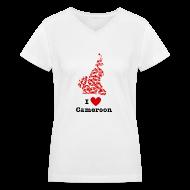 Women's T-Shirts ~ Women's V-Neck T-Shirt ~ I Love Cameroon V-Neck