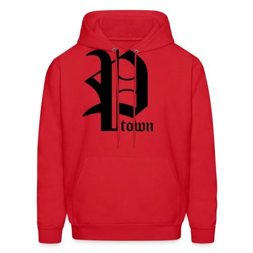 P-Town Sweatshirt - Black on Red - Men's Hoodie