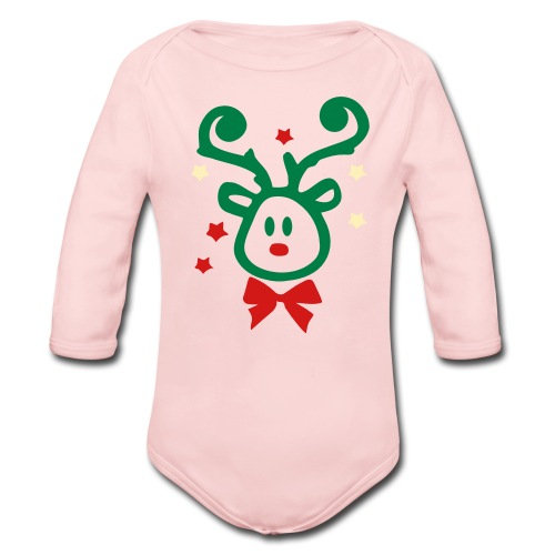 Cute Rudolph Christmas Baby Long Sleeve One Piece - Organic Long Sleeve Baby Bodysuit