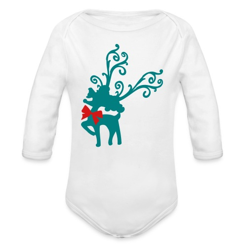 Cool Rudolph Christmas Baby Long Sleeve One Piece - Organic Long Sleeve Baby Bodysuit