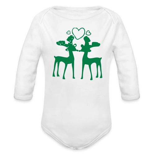 Rudolph in love Baby Long Sleeve One Piece - Organic Long Sleeve Baby Bodysuit