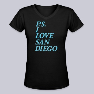 P.S. I Love San Diego - Women's V-Neck T-Shirt