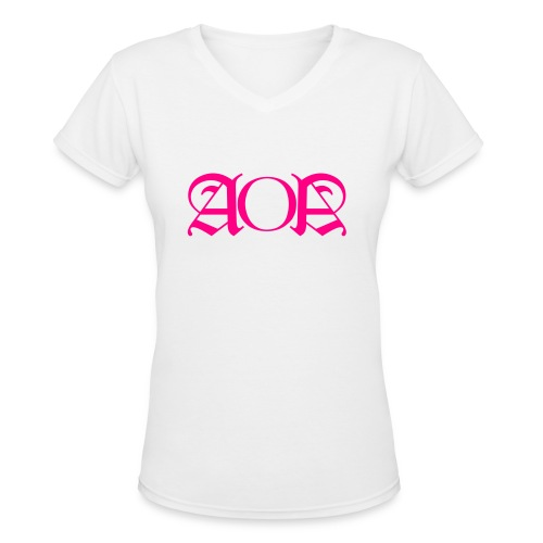 AOA V-Neck Neon Pink Wording F - Women's V-Neck T-Shirt