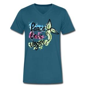 Peace love vegan Men's V-Neck T-Shirt by Canvas - Men's V-Neck T-Shirt by Canvas