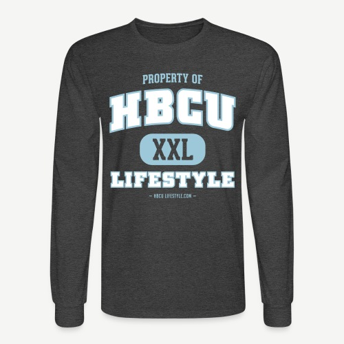 HBCU Lifestyle - Men's Sky Blue, Ivory, and Heather Black Long Sleeve Shirt - Men's Long Sleeve T-Shirt