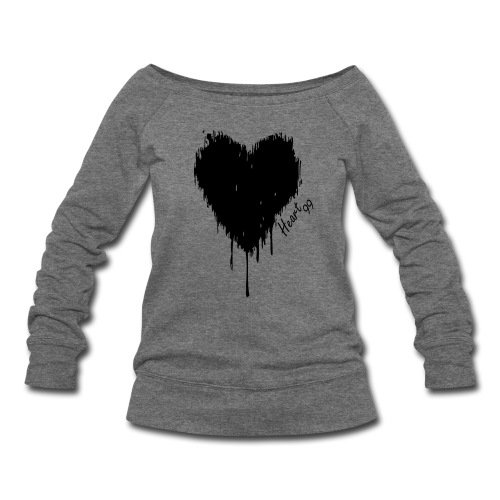 Dripping Heart99 Grey Sweat - Women's Wideneck Sweatshirt