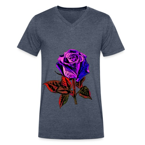 Blue rose T-Shirts - Men's V-Neck T-Shirt by Canvas