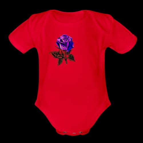 Blue rose - Organic Short Sleeve Baby Bodysuit