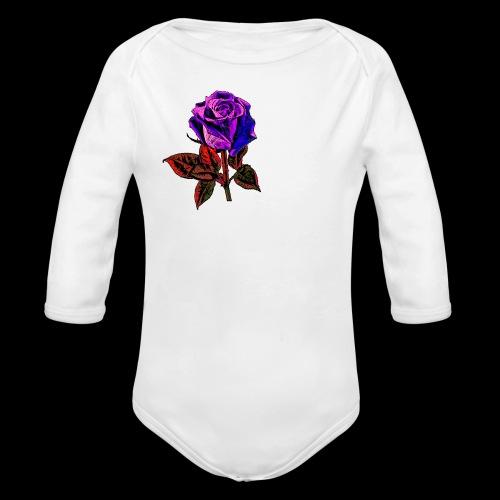 Blue rose - Organic Long Sleeve Baby Bodysuit