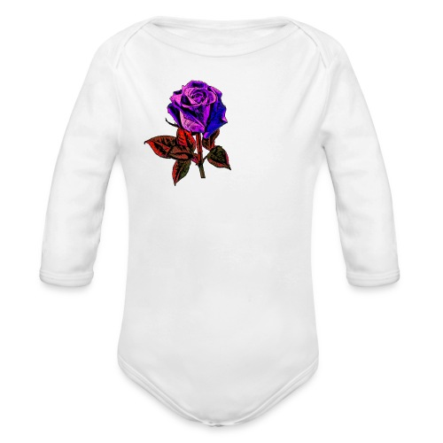 Blue rose - Organic Long Sleeve Baby Bodysuit