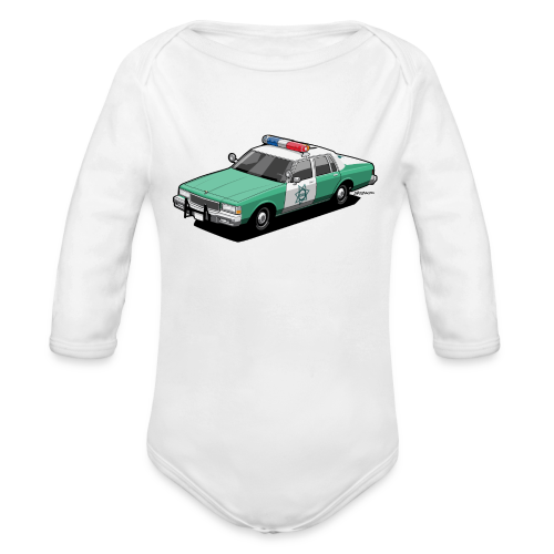 SD County Sheriff Department Vintage Police Car - Organic Long Sleeve Baby Bodysuit