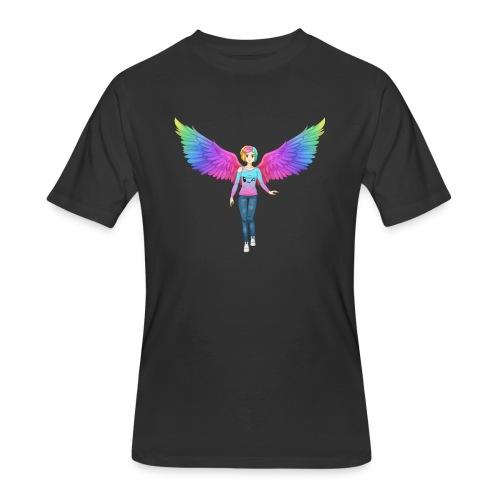 Rainbow Angel Anime Mens Tshirt - Men's 50/50 T-Shirt