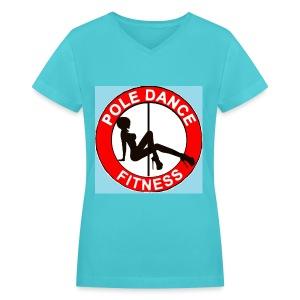 pole dance fitness top (blue) - Women's V-Neck T-Shirt