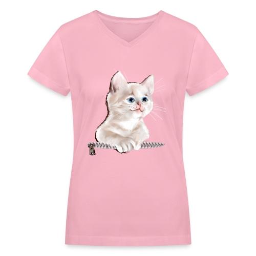 Sweet Pocket Kitten - Women's V-Neck T-Shirt