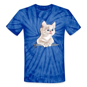 Sweet Pocket Kitten - Unisex Tie Dye T-Shirt