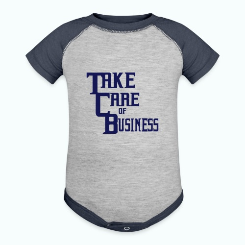 TCB Baby Contrast One Piece Heather Gray/Navy - Contrast Baby Bodysuit