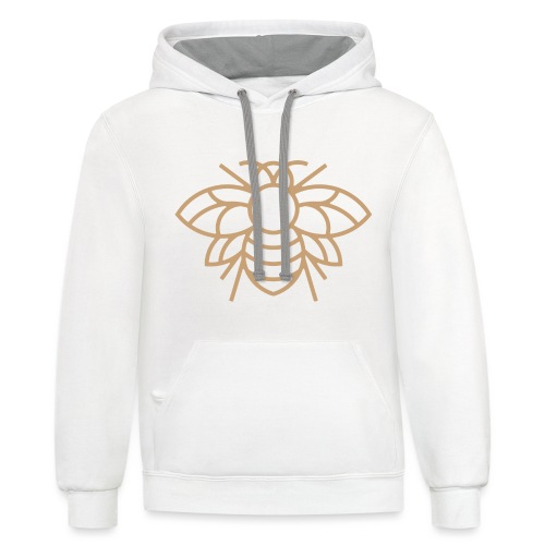 White on Gold Classic Bee Hoodie - Contrast Hoodie