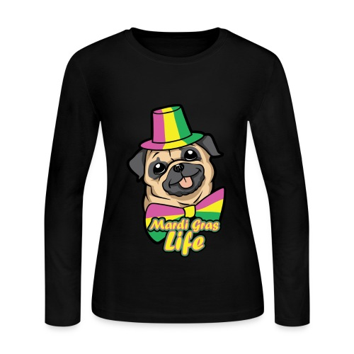 Pug: Mardi Gras Life Women's Long Sleeve Jersey T-Shirt - Women's Long Sleeve Jersey T-Shirt