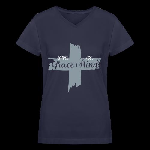 Give Grace & Be Kind - Women's V-Neck T-Shirt