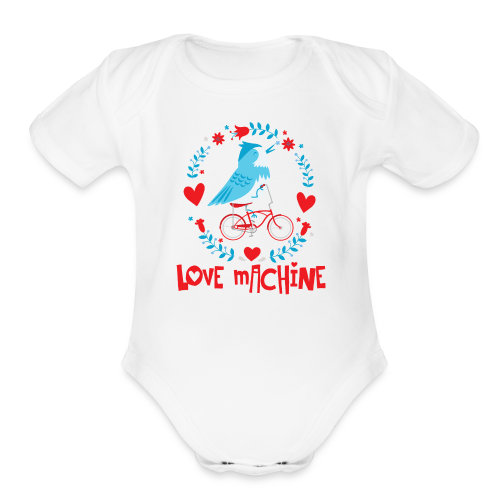 Love Machine Bird Riding Bicycle - Organic Short Sleeve Baby Bodysuit