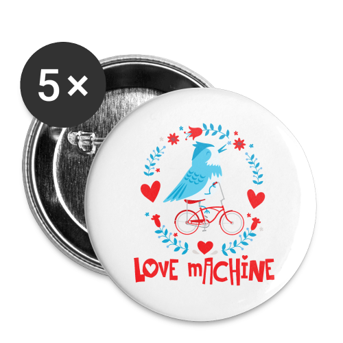 Love Machine Bird Riding Bicycle - Buttons large 2.2'' (5-pack)