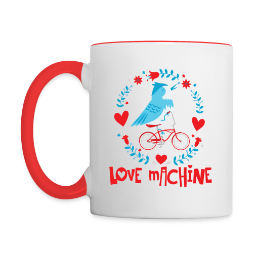 Love Machine Bird Riding Bicycle - Contrast Coffee Mug