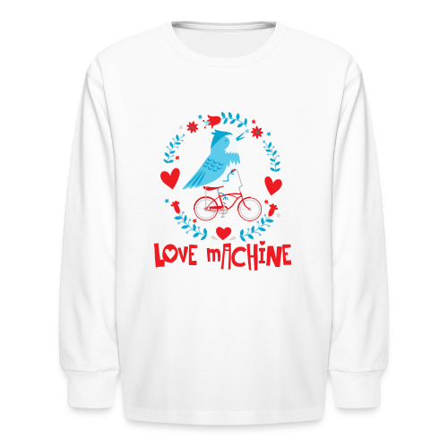 Love Machine Bird Riding Bicycle - Kids' Long Sleeve T-Shirt