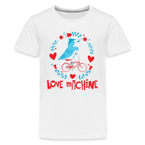 Love Machine Bird Riding Bicycle - Kids' Premium T-Shirt