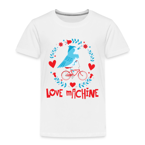Love Machine Bird Riding Bicycle - Toddler Premium T-Shirt