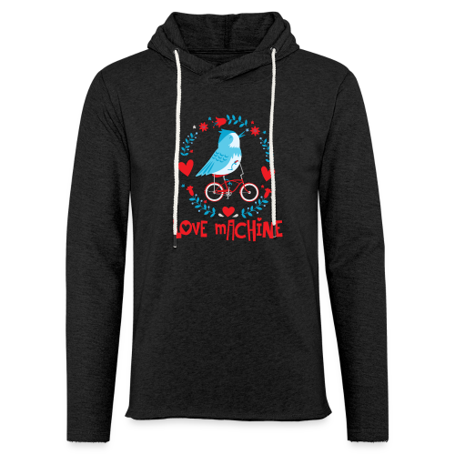 Love Machine Bird Riding Bicycle - Unisex Lightweight Terry Hoodie