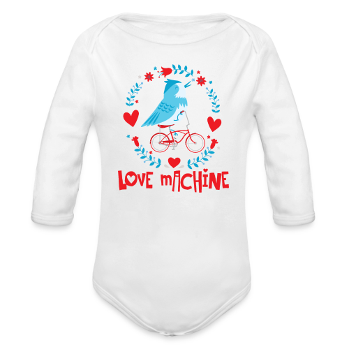 Love Machine Bird Riding Bicycle - Organic Long Sleeve Baby Bodysuit
