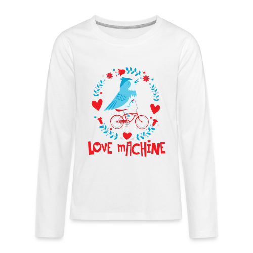 Love Machine Bird Riding Bicycle - Kids' Premium Long Sleeve T-Shirt