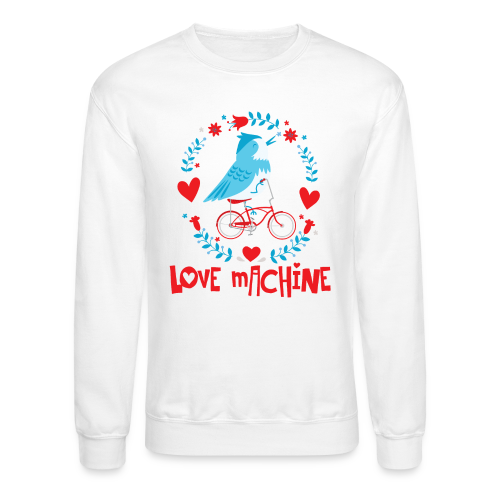 Love Machine Bird Riding Bicycle - Crewneck Sweatshirt