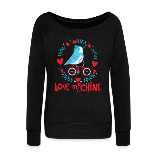 Love Machine Bird Riding Bicycle - Women's Wideneck Sweatshirt