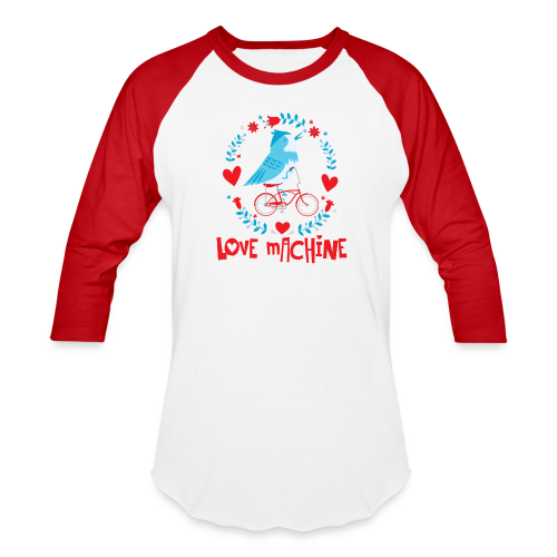 Love Machine Bird Riding Bicycle - Baseball T-Shirt