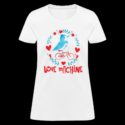 Love Machine Bird Riding Bicycle - Women's T-Shirt