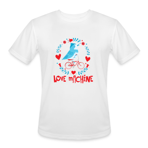 Love Machine Bird Riding Bicycle - Men's Moisture Wicking Performance T-Shirt