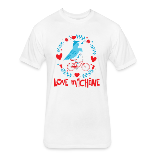 Love Machine Bird Riding Bicycle - Fitted Cotton/Poly T-Shirt by Next Level