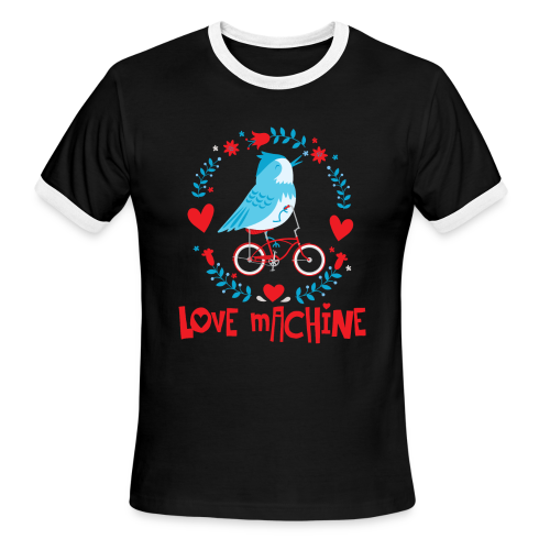 Love Machine Bird Riding Bicycle - Men's Ringer T-Shirt