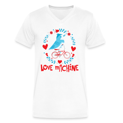 Love Machine Bird Riding Bicycle - Men's V-Neck T-Shirt by Canvas